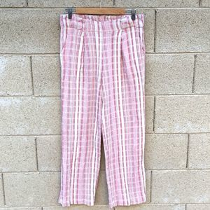 Saturday Sunday Linen Pink White Wide Stripe Pants